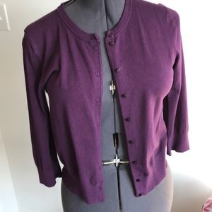 Purple Cable & Gauge cardigan, 3/4 length